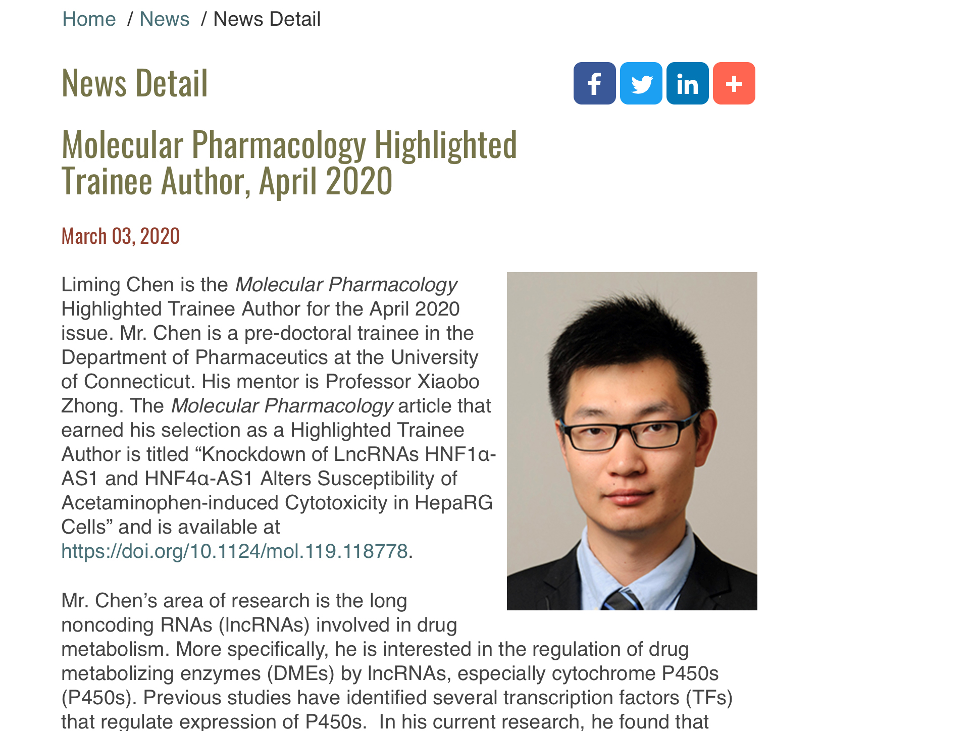 2020 Liming Mol Pharm Highlighted Author